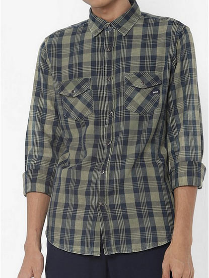 Men's Victor green checks shirt