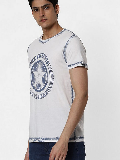 Men's Jonis printed round neck blue t-shirt