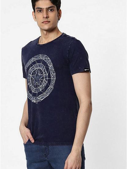 Men's Ajar printed round neck blue t-shirt