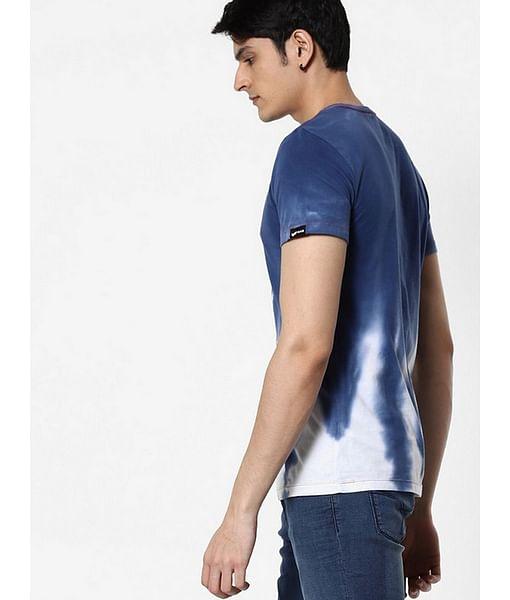 Men's Invincible printed round neck blue t-shirt
