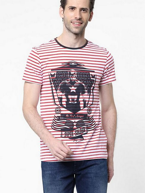 Men's Super Printed Round Neck White T-Shirt