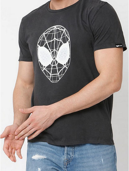 Men's Webed face printed round neck grey t-shirt