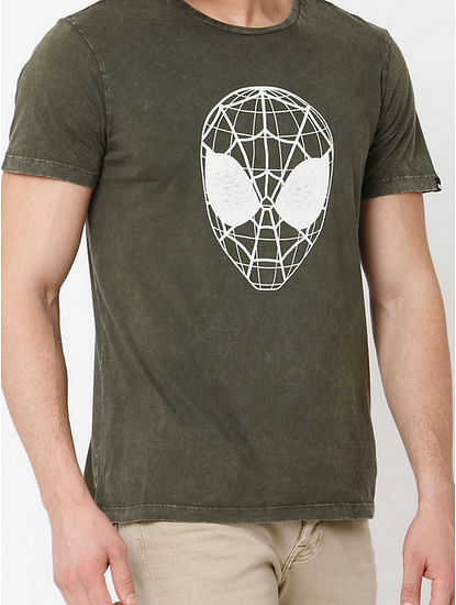Men's Webed face printed round neck green t-shirt