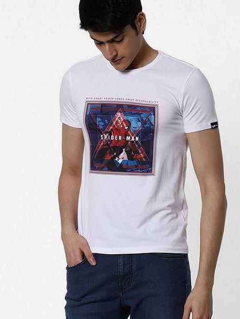 Men's Spider-man printed round neck white t-shirt