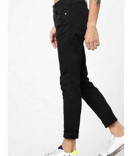 Men's Sax Zip Skinny Fit BLACK Jeans