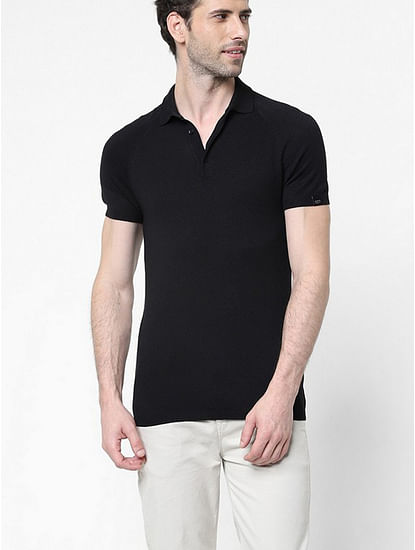 Men's Ryce solid black polo shirt