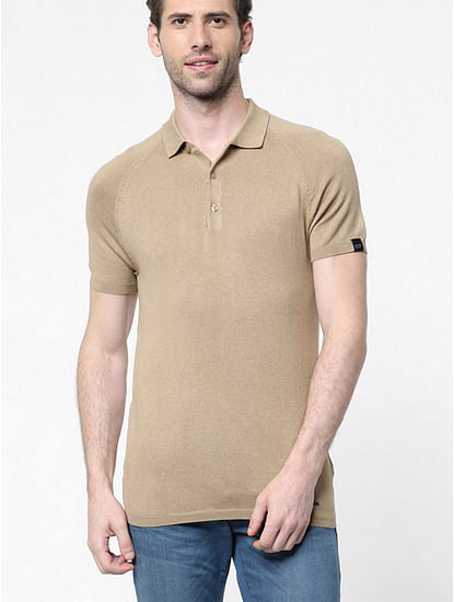Men's Ryce solid beige polo shirt