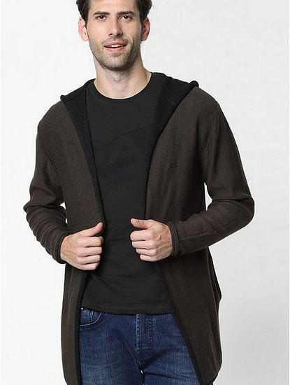 Men's Rick solid brown hooded open cardigan