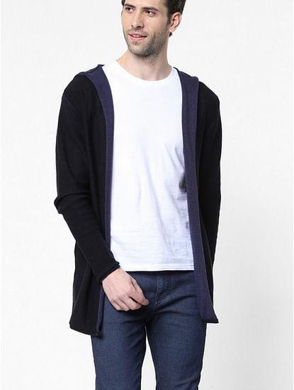 Men's Rick solid black hooded open cardigan