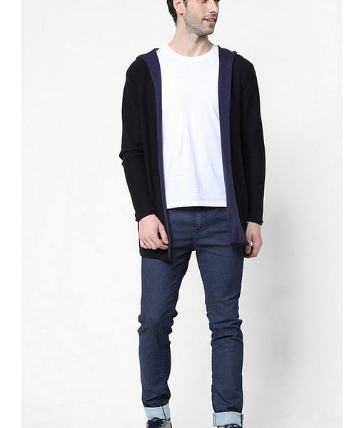 Men's Rick solid black hooded open cardigan
