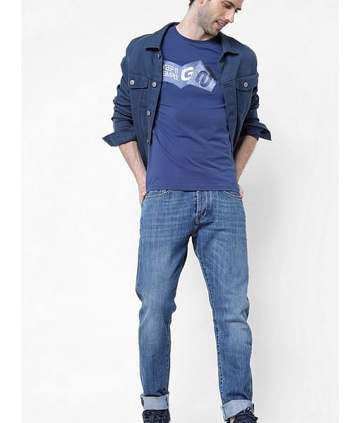 Men's Jens/s printed round neck blue t-shirt