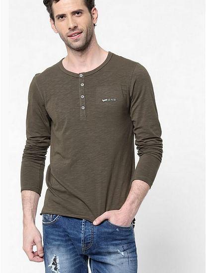 Men's Kazuki solid henley brown t-shirt