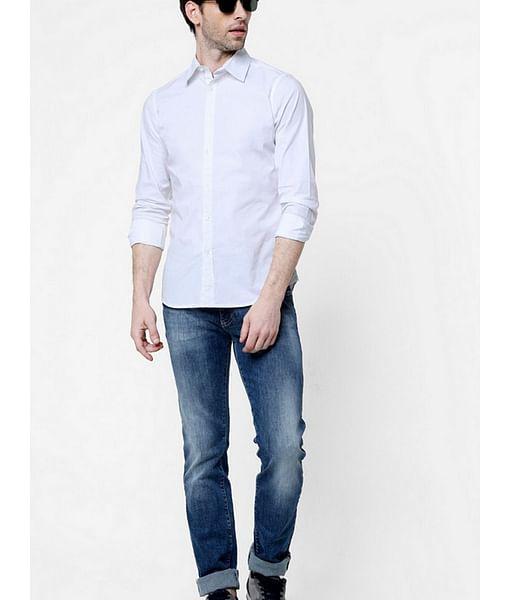 Men's Andrew solid white shirt