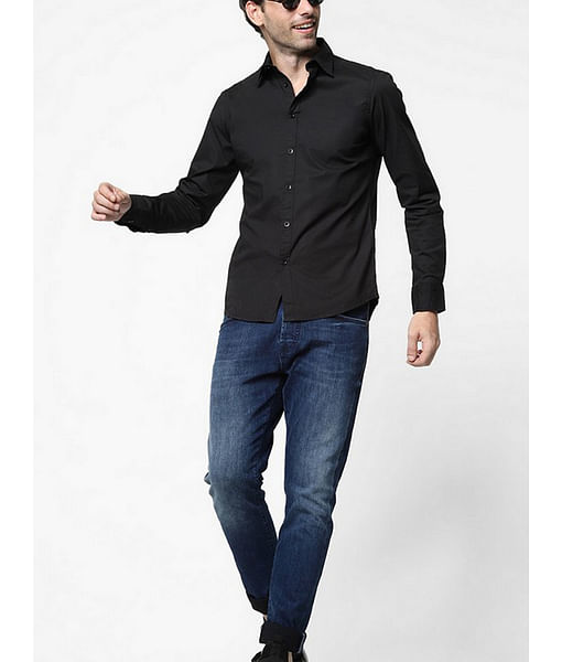 Men's Andrew solid black shirt