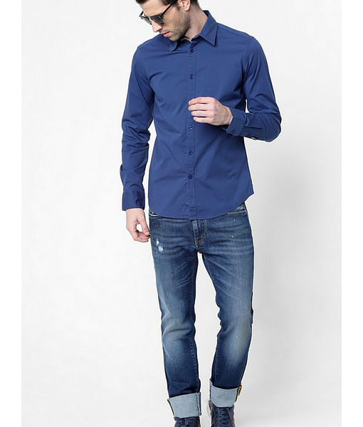 Men's Andrew solid blue shirt