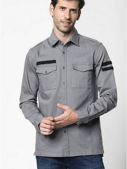 Men'a Terge solid light taupe shirt