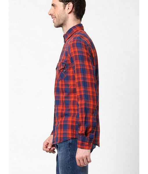 Men's Kant indigo red checks shirt