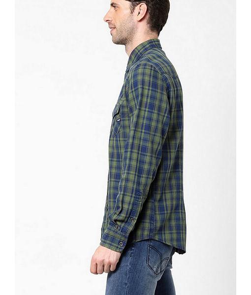 Men's Kant indigo green checks shirt