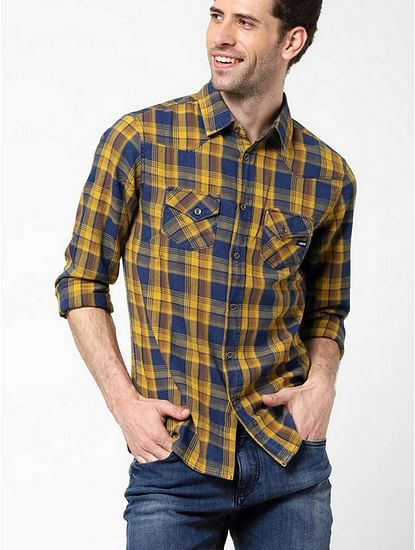Men's Kant indigo yellow checks shirt
