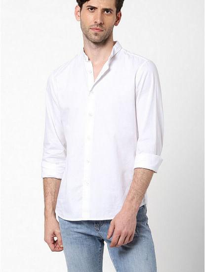 Men's Sir Det chess solid white shirt