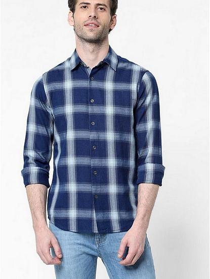 Men's Sir Det Indigo trill blue checks shirt