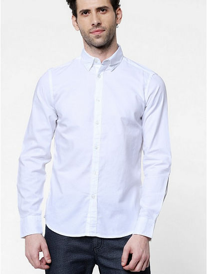 Men's Andrew mix solid white shirt
