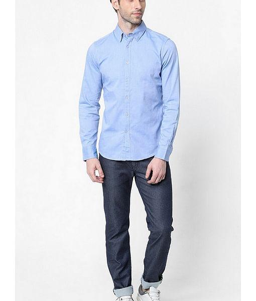 Men's Andrew mix solid blue shirt