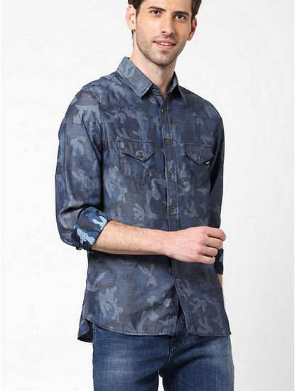 Men's Sir Det all over printed indigo shirt