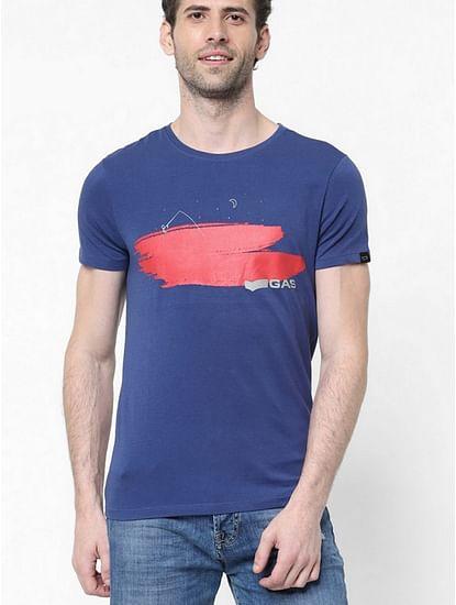 Men's Scuba artist printed round neck blue t-shirt