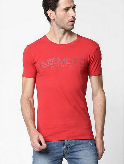 Men's Scuba/s printed round neck red t-shirt
