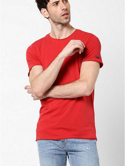 Men's Scuba basic solid round neck red t-shirt