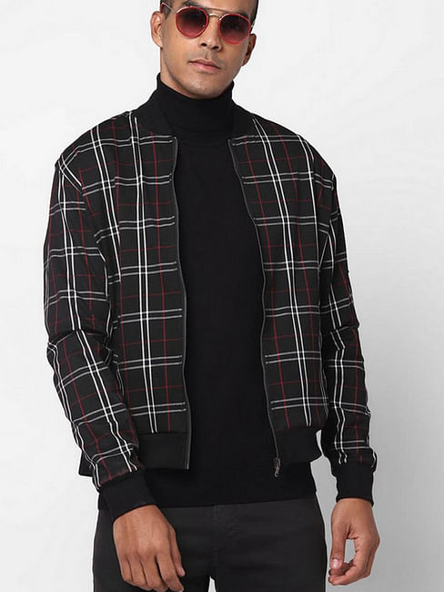 Checked Slim Fit Zip-Front Jacket