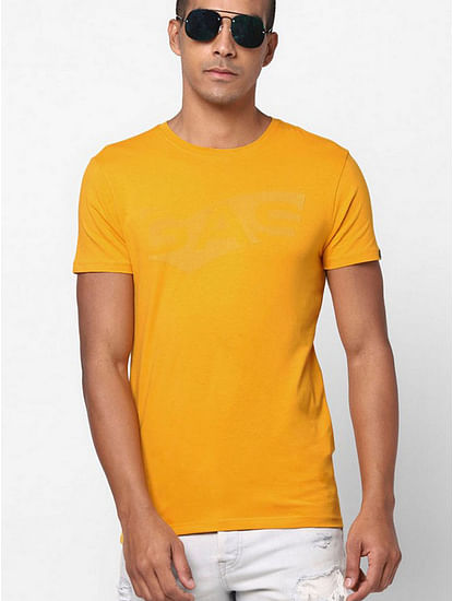 Men's Scuba text printed crew neck mustard t-shirt