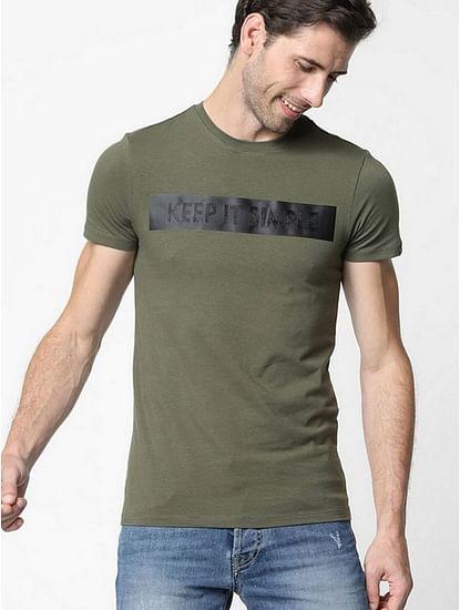 Men's Scuba simple printed crew neck olive t-shirt