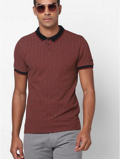 Printed Slim Fit Polo T-shirt with Contrast Trims