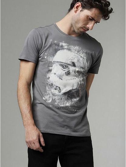 Men's Scuba storm printed round neck grey t-shirt
