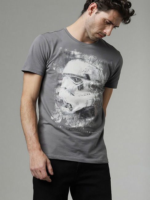 Men's Scuba storm printed round neck grey t-shirt