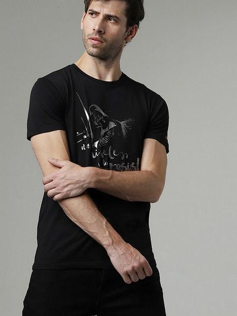 Men's Scuba darth printed round neck black t-shirt