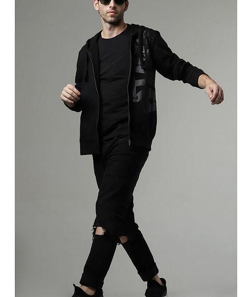 Men's SWT printed black hooded sweatshirt