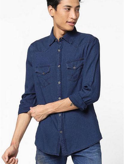 Men's Kant solid blue denim shirt