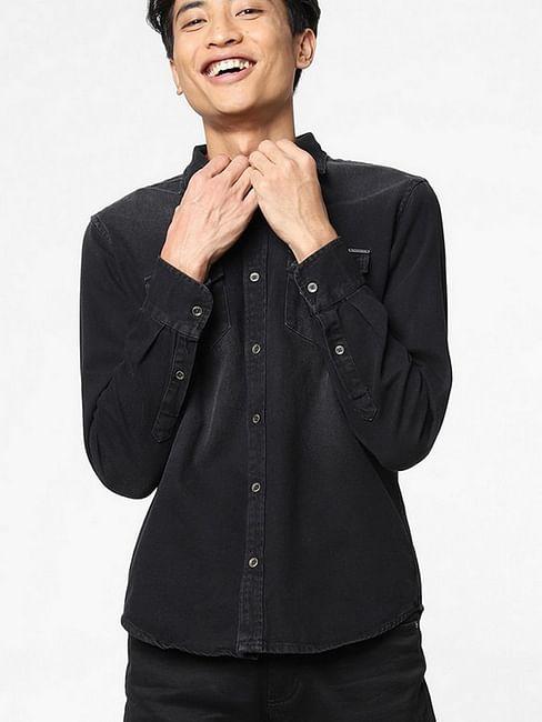 Men's Victore washed black denim shirt