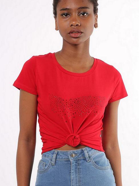 Women's slim fit round neck half sleeves embellished Doll logo t-shirt