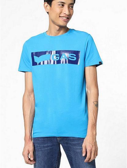 Men's Scuba/S Printed Round Neck Blue T-Shirt