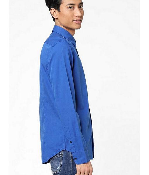 Men's Andrew mix solid neck blue shirt