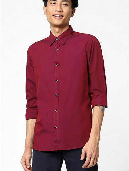 Men's Andrew mix solid neck red shirt