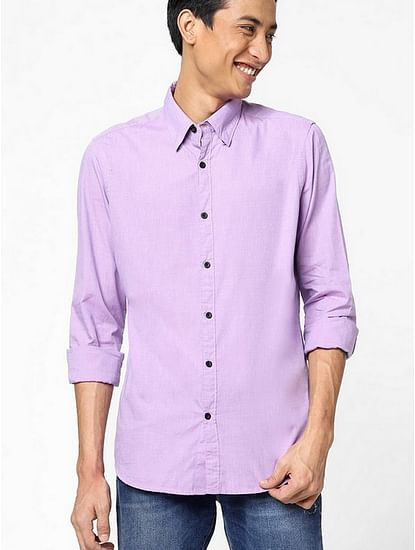 Men's Andrew mix solid neck purple shirt