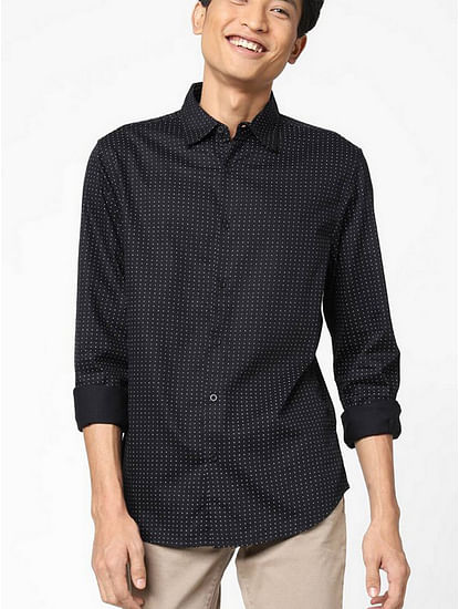Men's Sir det printed black shirt
