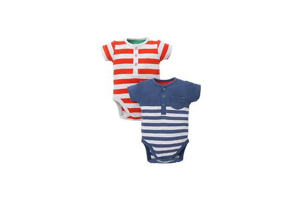Boys Striped Short Sleeve Bodysuit - Pack Of 2