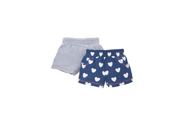 Girls Heart Print And Striped Shorts - Pack Of 2