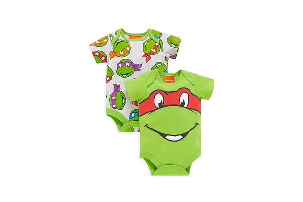 Boys Half Sleeves Teenage Mutant Ninja Turtles Bodysuits - Pack Of 2 - Green